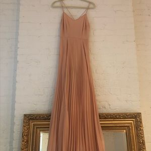 ASOS dusty pink gown with pleated skirt